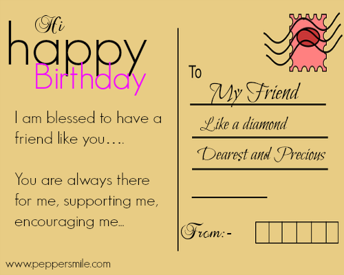 Birthday Postcard For Your Friend