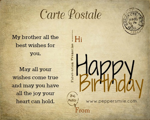 Happy Birthday Postcard For Brother