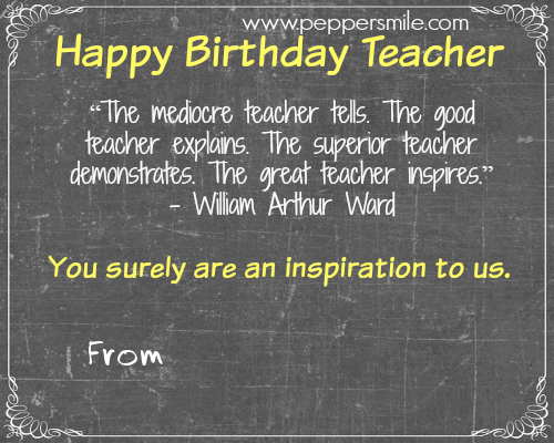 birthday card for teacher